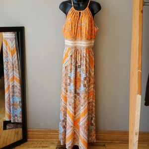 Dress Barn Orange and Tan Maxi Dress